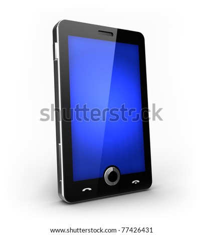 Futuristic cell phone with touch screen - stock photo