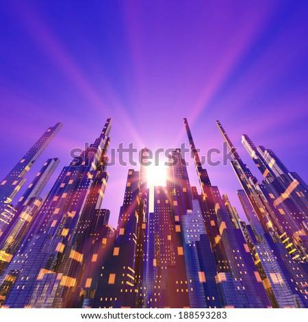 Futuristic city - stock photo