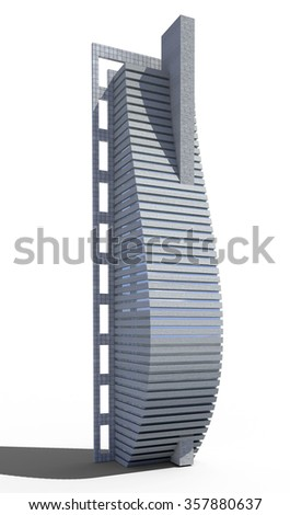 Futuristic city architecture of skyscraper with the isolation work path included in the jpg file, for science fiction or fantasy backgrounds - stock photo