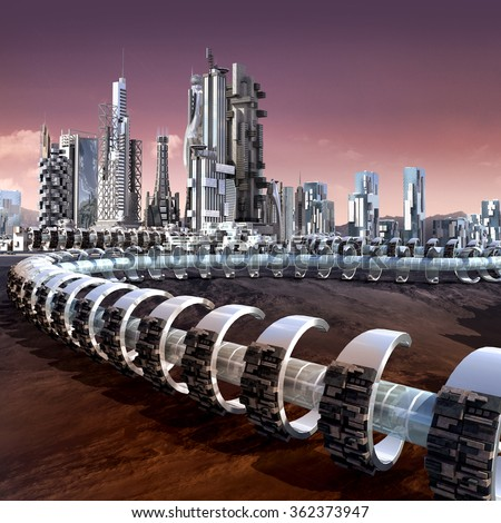 Futuristic city architecture with skyscrapers and tubular ring structure on an alien red planet, for futuristic or fantasy backgrounds - stock photo