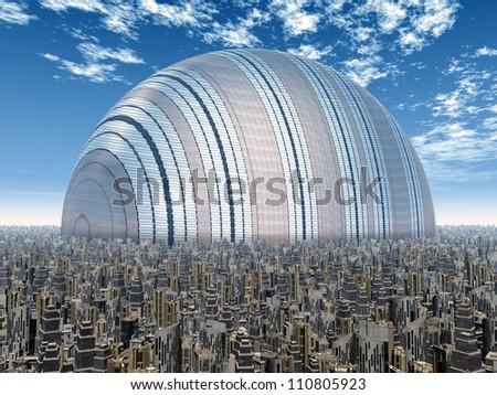 Futuristic City Computer generated 3D illustration - stock photo