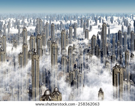 Futuristic City Computer generated 3D illustration - stock photo