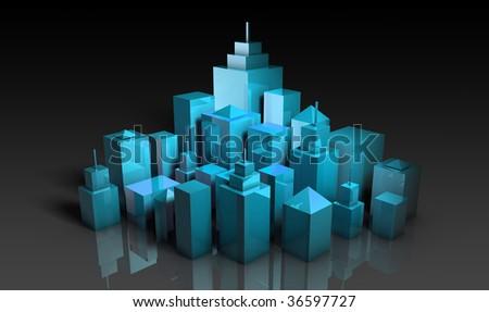 Futuristic Cityscape with a Modern Stylish Art - stock photo