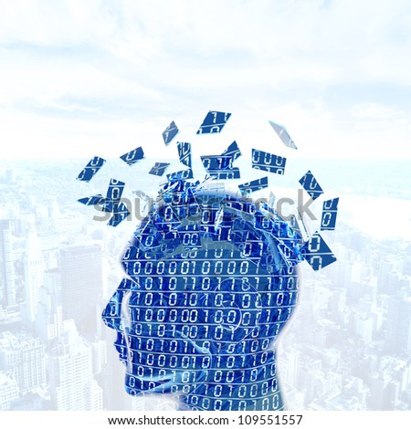 Futuristic concept of a digital mind - stock photo