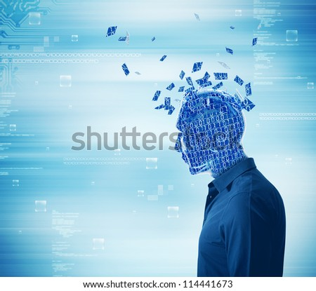 Futuristic concept of internet dependency - stock photo