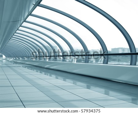 futuristic corridor in airport - stock photo