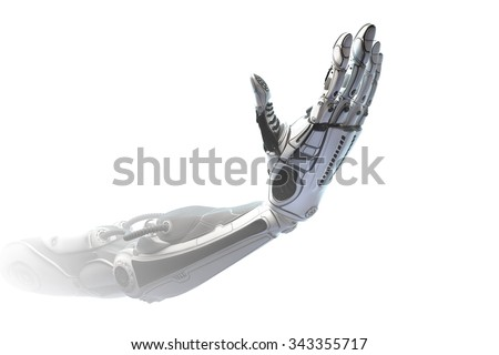 Futuristic design concept of plastic limb. A robotic mechanical arm look like a human hand. Hand Showing number four with fingers. Counting down sign gesture. Template Isolated on white background. - stock photo
