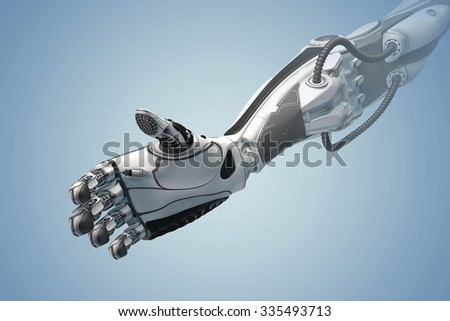 Futuristic design gesture concept. A robotic mechanical arm looks ike a human hand. Cybernetic organism with Artificial Intelligence ready to give a handshake - stock photo