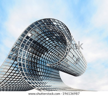Futuristic design in the form of a wave. Modern construction of steel and glass - stock photo