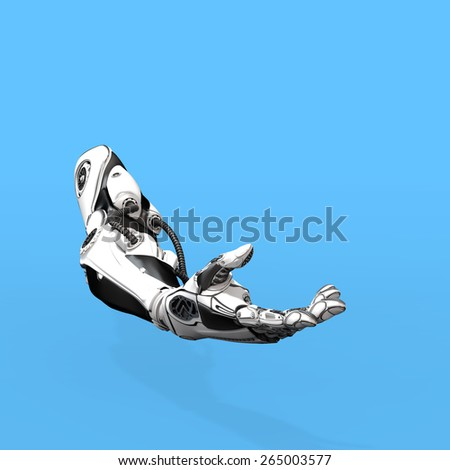 Futuristic design of Robot Arm on blue background - stock photo