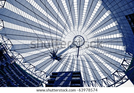 futuristic design of roof in Berlin, blue tone picture, Germany - stock photo