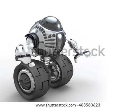 Futuristic design. 2-Wheel Self Balancing Robot. 3D character illustration. - stock photo