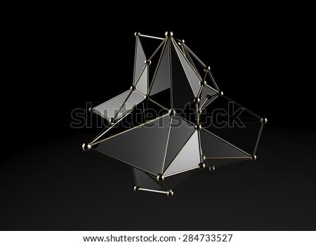 Futuristic digital abstract plexus style 3d molecule model - stock photo