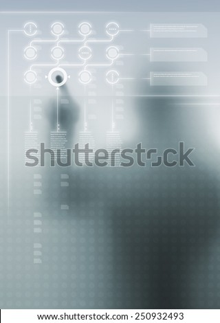 Futuristic digital display with user interface design and human silhouette in background - stock photo