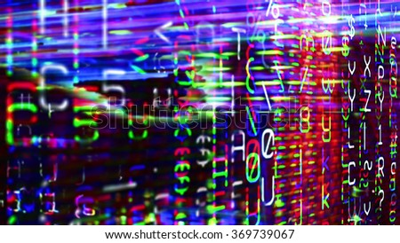 Futuristic digital technological display 10759 with numbers, letters and light effects. - stock photo