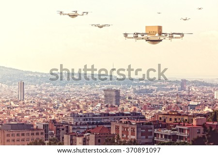 futuristic drone flying over the city - stock photo