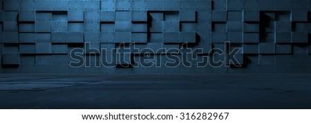 Futuristic Empty Metal Room - stock photo