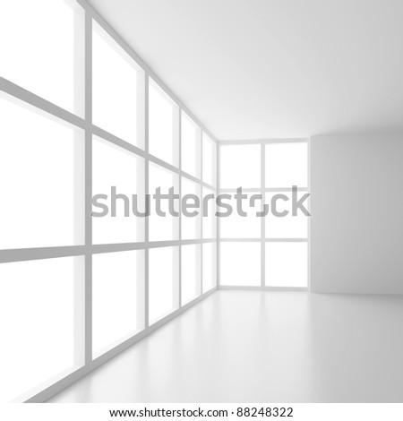 Futuristic Empty Room - stock photo