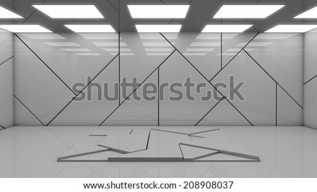 Futuristic empty room. Great for placing objects. - stock photo