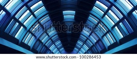 Futuristic hallway steel corridor construction symmetric perspective - stock photo