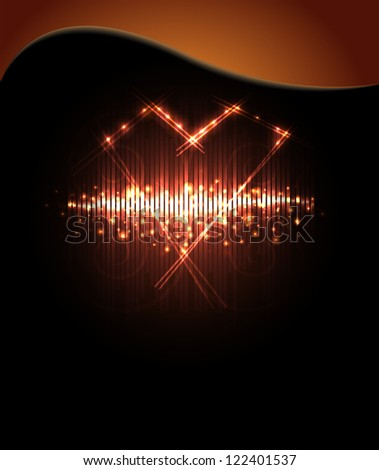 Futuristic heart, abstract background, - stock photo