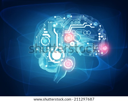 futuristic human brain - stock photo