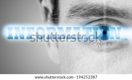 Futuristic image of sign Information using human eye as the letter O. - stock photo