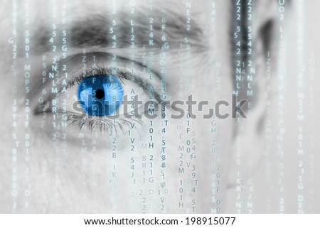 Futuristic image with human eye with blue iris and matrix texture. - stock photo