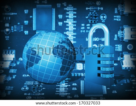 Futuristic integrated circuit, code lock and globe. The concept of electronic security - stock photo
