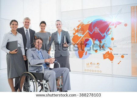 Futuristic interface with the world map against disabled businessman with his colleagues smiling at camera - stock photo