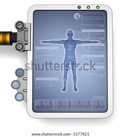 futuristic medical computer monitor - stock photo