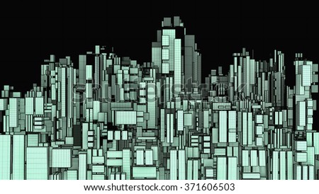 Futuristic Megalopolis City Of Skyscrapers 36 - stock photo