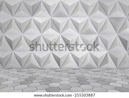 Futuristic Metal Room  - stock photo