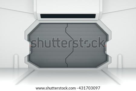 Futuristic metallic door or gate 3D rendering - stock photo