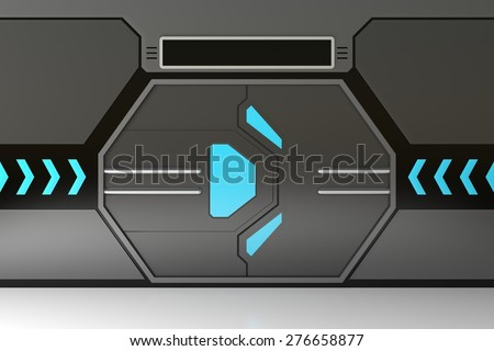 Futuristic metallic door or gate with blue lights - stock photo