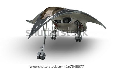 Futuristic military battleship for alien fantasy games or science fiction backgrounds of interstellar deep space travel.Clipping path included in the .jpg file. - stock photo