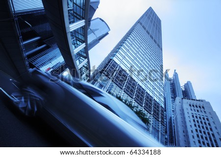 Futuristic modern blue city background - stock photo