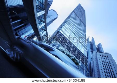 Futuristic modern blue city background - stock photo