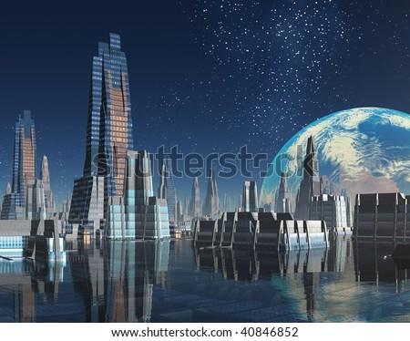 Futuristic Moon Base City on Alien World - stock photo