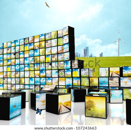 Futuristic multimedia streaming concept with blocks - stock photo