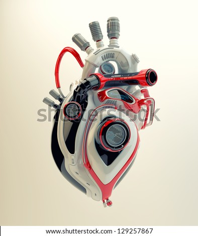 Futuristic plastic heart. 3d render / Robotic engine heart - stock photo