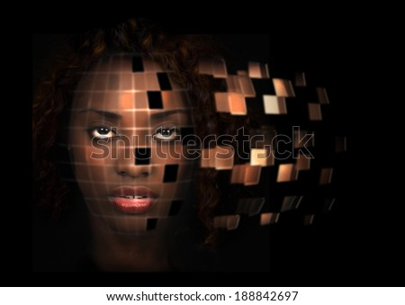 Futuristic portrait of a beautiful African American woman - stock photo