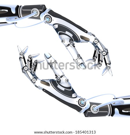 Futuristic robot artifical hands isolated on white background - stock photo