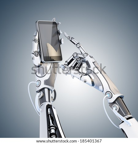 Futuristic robot holding glossy smartphone with artifical hand and touching it by finger isolated on white background - stock photo
