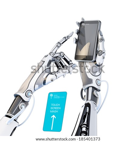 Futuristic robot holding glossy smartphone with artifical hand and touching it by finger isolated on white background. A blue mask included to cut out phone screen. - stock photo