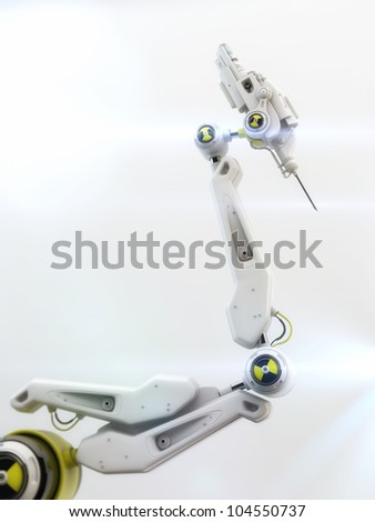 Futuristic robotic instrument with steel needle on the edge - stock photo