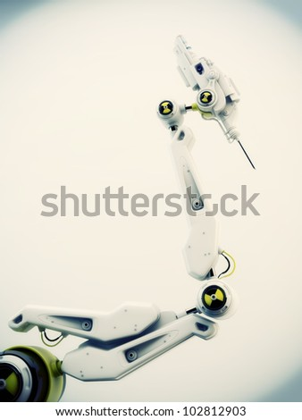 Futuristic robotic instrument with steel needle on the edge / Robot hand with test sign - stock photo