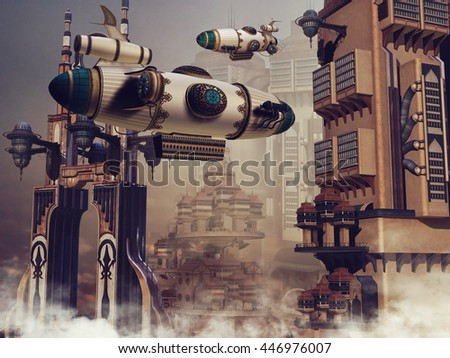 Futuristic scenery with fantasy skyscrapers and zeppelins above the clouds. 3D illustration. - stock photo