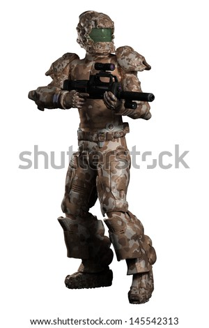 Futuristic sci-fi space marine trooper in brown camouflage, 3d digitally rendered illustration - stock photo