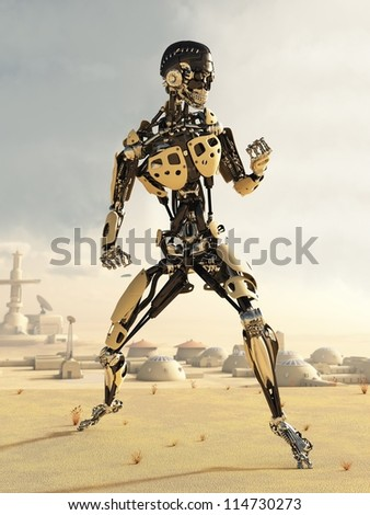 Futuristic science fiction android in a desert landscape outside a small town, 3d digitally rendered illustration - stock photo